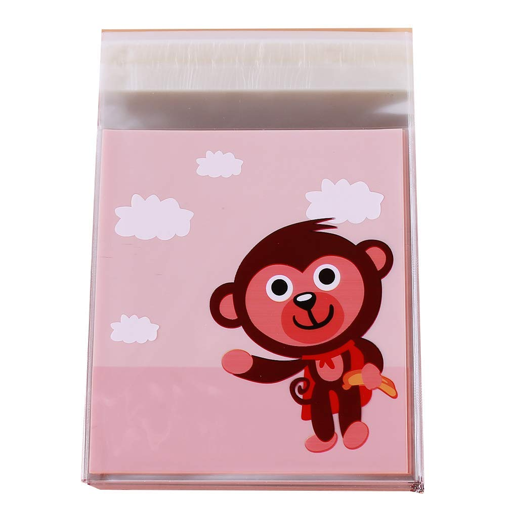Yevison Cute Little Monkey Self-Adhesive Bag Gift Bag Biscuit Cookie Bag Candy Earrings Jewelry Bag High Quality