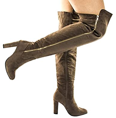 83976b0a4f6 Top Moda Zola35 Taupe Over The Knee High Block Heel Dress Boots