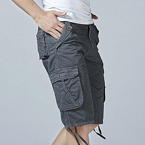 Pantalon Gris Work Court Beach Mode Kobay Pocket Décontracté Hommes Foncé Casual zFxBnqYO