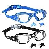 EverSport - anteojos de natación (2 unidades, antifugas, protección UV para adultos, hombres, mujeres, jóvenes, niños, a prueba de golpes, impermeables, lentes de triatlón espejadas/transparentes), 12: Blue & Black with Clear Lens