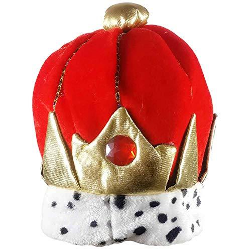 (1pcs King Crown Plush Costume Hat Royal Dress Up Kings Halloween Party Cap,Fluorescence)