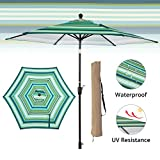 LCH 9ft Striped Patio Outdoor Umbrella Backyard, 8 Ribs, 1.5'' Pole Tilting Easily Crank Open with Cover (Green-White)
