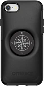 Otter + Pop for iPhone SE, 7 and 8: OtterBox Symmetry Series Case with PopSockets Swappable PopTop - Black and Compass