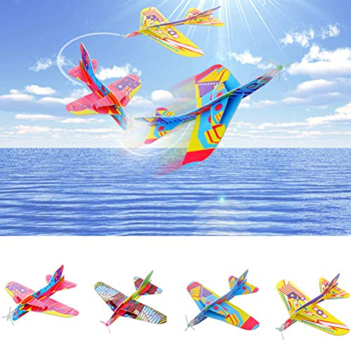 LQT Ltd DIY Magic Roundabout Combat Aircraft Foam Paper Airplane Outdoor Creative Kids Toy Model Hand Throw Flying Glider Planes Toys