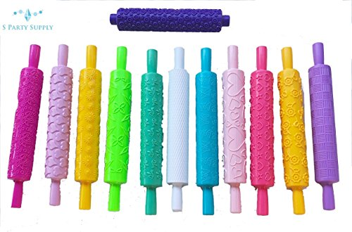 S.P.S Variate Design Pattern Embossed Rolling Pin for Bakery Cake making -12pcs (Embossed Clay)