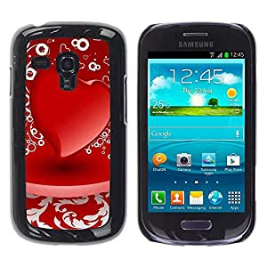Slim Protector Shell Hard Case Cover for Samsung Galaxy S3 MINI NOT REGULAR! I8190 I8190N D red heart / STRONG
