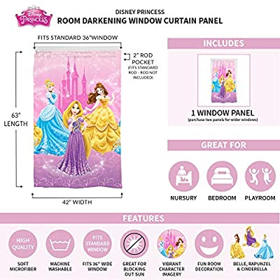 "Disney Princess Kids Room Darkening Window Curtain Panel 42"" x 63"" Pink"