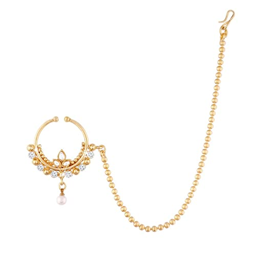I Jewels No Piercing Nose Ring With Chain For Women Nl06 Amazon Ca