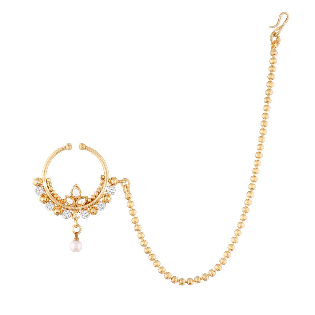 I Jewels No Piercing Nose Ring with Chain for Women NL06