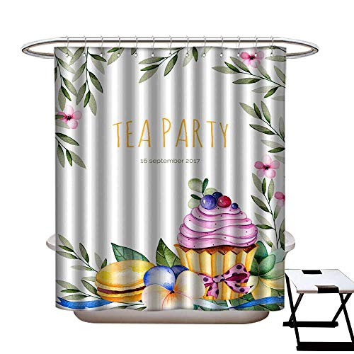 warmfamily Shower Curtain with Hooks Beautiful Watercolor Invitation with Tasty Cupcakes Succulent Plant Leaves Branches Shower CurtainW72 x L84