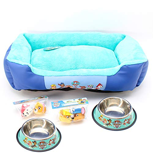 Paw Patrol Dog Collar (Penn Plax Officially Licensed Paw Patrol Bundles with Large Dog Bed, Food Bowl, Water Dish, Four (4) Squeaky Face)