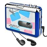 DIGITNOW Cassette Player-Cassette Tape To MP3 CD Converter Via USB,Portable Cassette Tape Converter Captures MP3 Audio Music,Convert Walkman Tape Cassette To MP3 Format,Compatible With LP& PC(white)