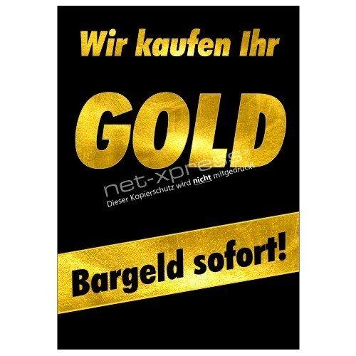 Goldankauf-Plakat für Kundenstopper A1, Werbeplakat Poster Gold Bargeld