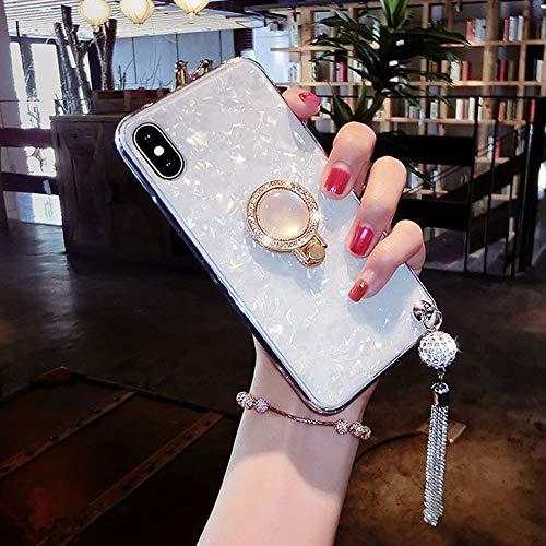 UR Sunshine iPhone 7/iPhone 8 Case, Multifunction Luxury Glitter Pearly-Lustre Shell Pattern Tassel Soft TPU Cover Case Sparkle Bling Crystal Back +Pearl Diamond Ring Holder - White