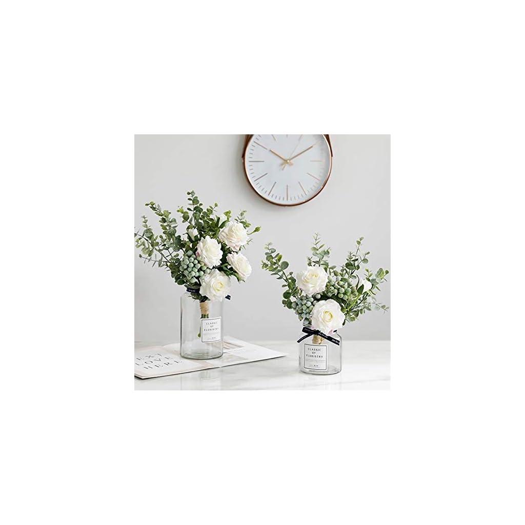 KIRIFLY Artificial Flowers Silk Roses Fake Plants Eucalyptus Leaves Berries Flower Arrangements Wedding Bouquets Decorations Floral Table Centerpieces Plastic Indoor Faux Plants Décor(White)