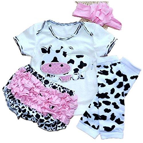 Milk Cow Short Sleeved T-shirt PP Pants Headband Legging For Baby Girls (White, M:3-6month)