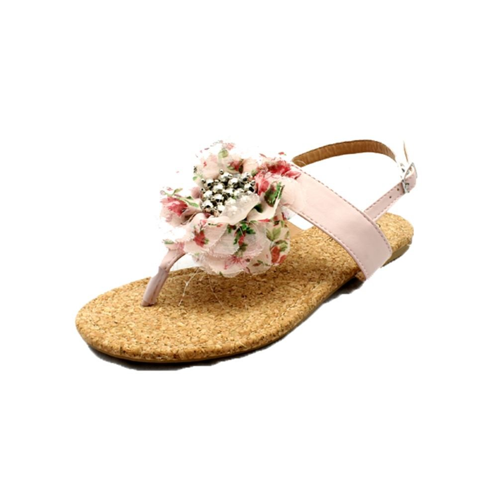 30017e09297 SendIt4Me Ladies Flat Sandals with Beaded Ruffled Front  Amazon.co.uk  Shoes    Bags