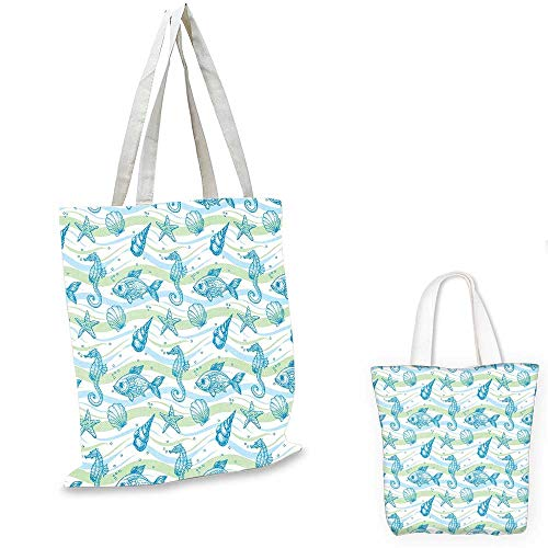 Nautical portable shopping bag Marine Ocean Shell Starfish Oyster Mollusk Sea Horse Underwater Aquatic Pattern sloth shopping bag Mint Blue. 15