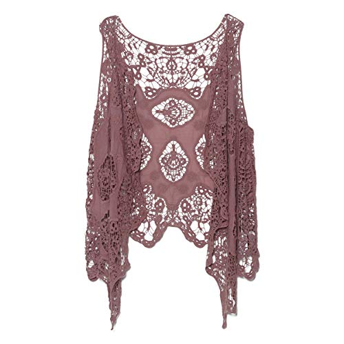 jastie Open Stitch Cardigan Boho Hippie Crochet Vest (Twilight)