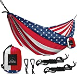 Double Camping Hammock with Straps – USA Best Quality Camp Hammock – Outdoor Portable American Flag Hammock – Hammock Camping for Men Women Full Package 500 lbs 118″ 78″ New For Sale