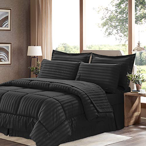8 Piece Comforter - Sweet Home Collection 8 Piece Comforter Set Bag with Dobby Stripe Design, Bed Sheets, 2 Pillowcases, 2 Shams Down Alternative All Season Warmth, Queen, Black