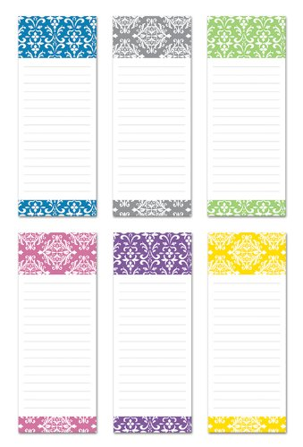 6 Magnetic Notepads - Damask Design Series - 6 Different Designs on 3.5