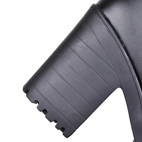punta botines para flecos altos negros tacones AgooLar redonda con mujer TqxT4d