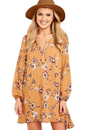 T Casual Summer Print Mini A Long Sleeve Mustard Dress Women's Floral Line Chvity Dress Shirt wqaIPng