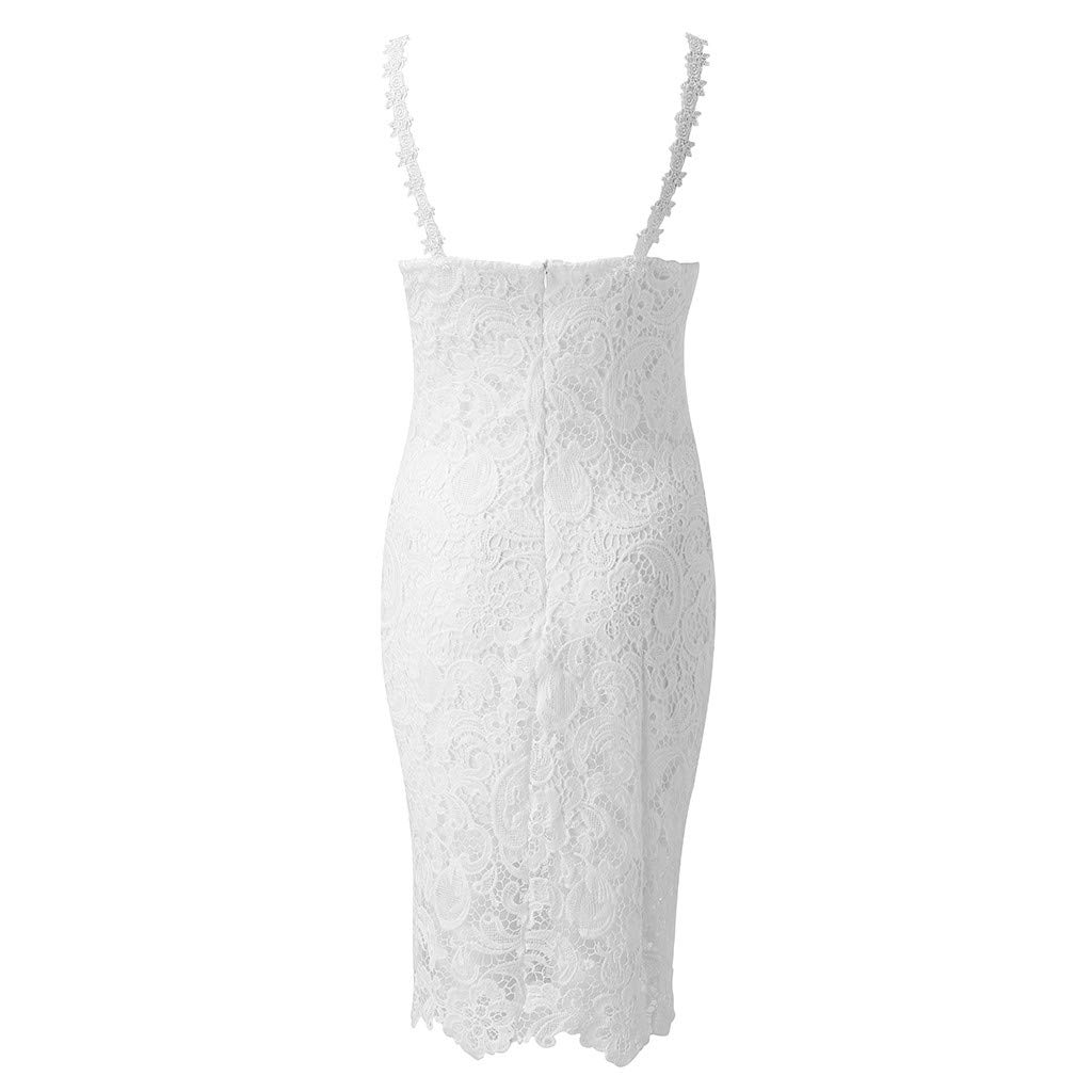 White, S Onefa Womens V Neck Sleeveless Summer Dress Strap Lace Floral Evening Party Midi Dress