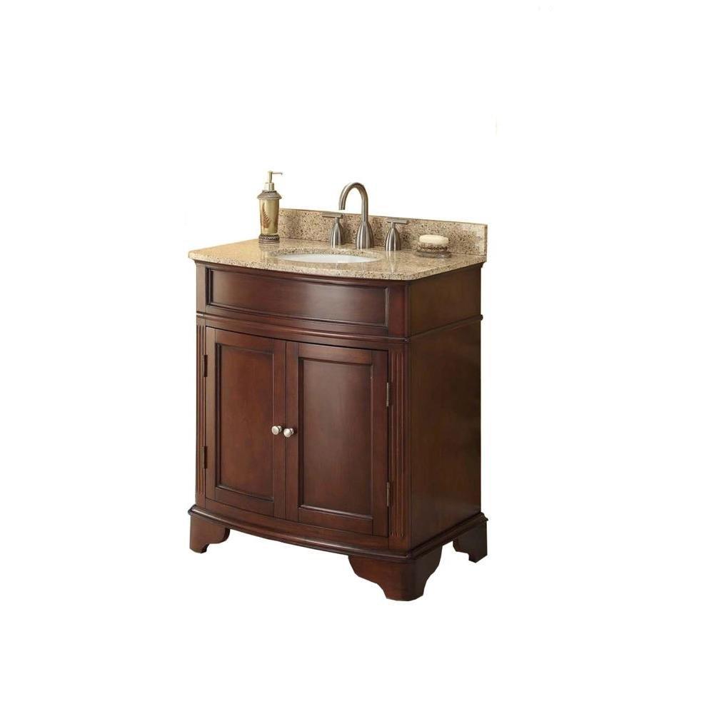 Beau D Vanity In Cherry With Marble Vanity Top In Cream And White Basin   Bathroom  Vanities   Amazon.com