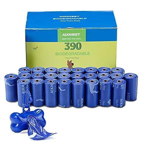 Bolsas para Excrementos de Perro con Dispensador, 26 Rollos/390 Unidades,Extra Grueso,Fuerte ya Prueba de Fugas Biodegradable Bolsas para Caca de ...