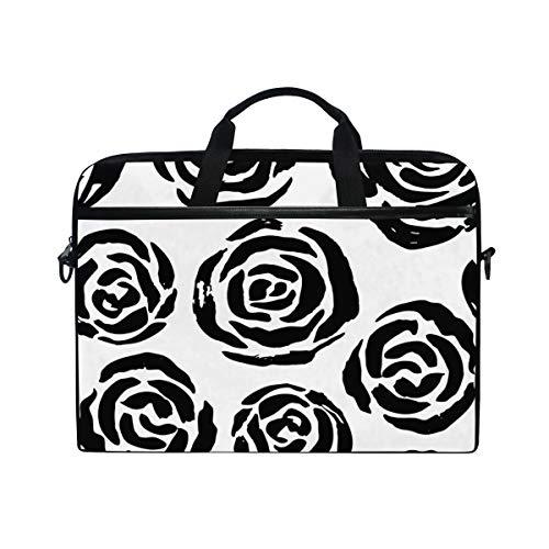 TARTINY 15-15.4 Inch Laptop Bag Seamless Vector Brush Stroke Pattern Black Shoulder Messenger Bags Sleeve Case Tablet Briefcase with Handle Strap