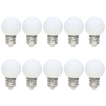 10X E27 Blanco Bombilla de Color 1W Lámpara LED Equivalente a Halógenas 10W 100LM Colores Bombilla