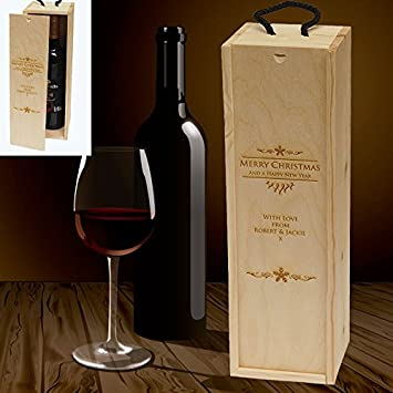 Personalised Wooden Wine Box Christmas Message - 770039