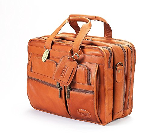 Executive Brief Bag (Claire Chase Jumbo Executive Laptop Leather Briefcase, Computer Bag in Saddle)