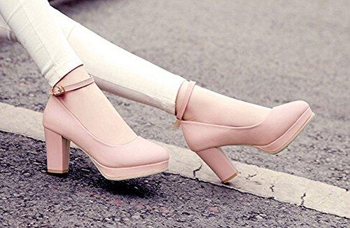 Korkokengät Solki Uutta Syksyllä Naiset Vedenpitävä Sana Vaaleanpunainen Kengät Matala Korkeakorkoiset Suuhun 6x0wfwYqpO