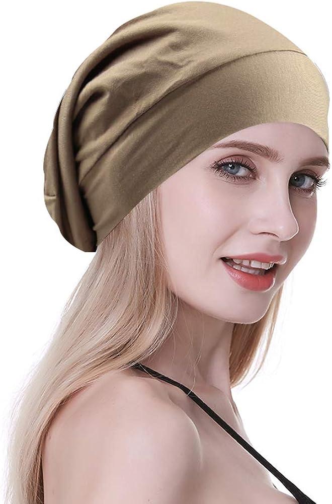 FocusCare Damen satin gef/üttert schlaf slouchy cap curly slap kopfbedeckung geschenke f/ür kraus haar