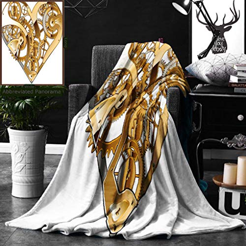 Unique Custom Digital Print Flannel Blankets Industrial Decor By Mechanical Heart Physical Bodies Complex Structure Of Love Tec Super Soft Blanketry for Bed Couch, Throw Blanket 50 x 70 Inches