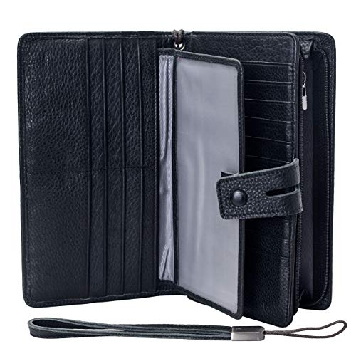 Womens-Big-Fat-Rfid-Leather-Wristlet-Wallet-Organizer-Large-Phone-Checkbook-Holder-with-Zipper-Pocket