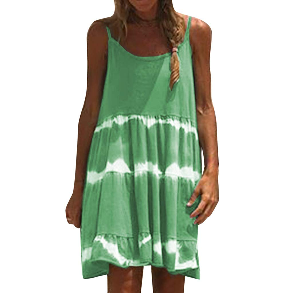 VEZAD Sleeveless Tie-Dye Dress Women Casual Camisole Chiffon Boho Sexy Mini Dresses Green