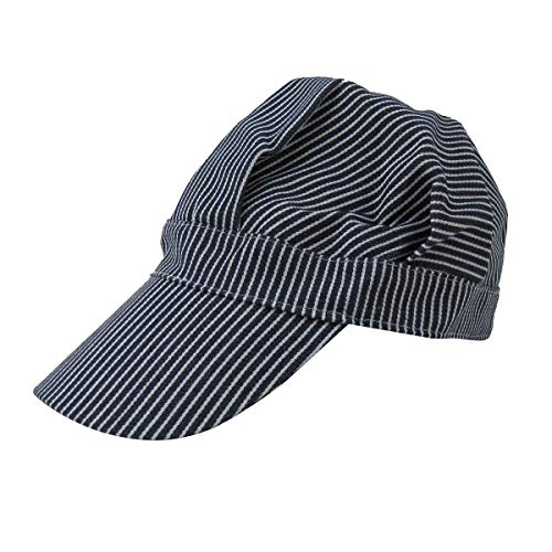 TG,LLC Blue Hickory Striped Railroad Engineer Cap Denim Railfain Hat RR Gift