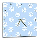 3dRose DPP_161523_1 Blue & White Paw Print Pattern Pawprints Cute Cartoon Animal Eg Dog or Cat Footprints Wall Clock, 10 by 10''
