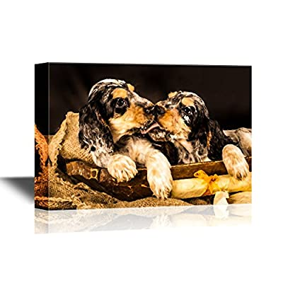 Dogs Breeds Canvas Wall Art - English Cocker Spaniel - Gallery Wrap Pet Art for Modern Home Art   Ready to Hang - 12x18 inches