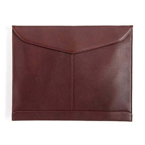 Leatherology Document Envelope with Magnetic Closure - Full Grain Leather - Burgundy (red) by Leatherology