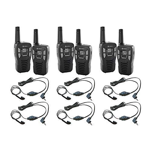 Cobra CXT145 MicroTalk 16 Mile Range 22 Channel 2 Way Walkie Talkie Radios, Pair (3 Pack) 2 GA-EB M2 Earbud & Microphone MicroTalk Walkie Talkie Headsets, Black (3 Pack)