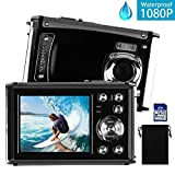 DECOMEN Waterproof Digital Camera Underwater Sport Camcorder with 16MP 2.4'' LCD Screen, 8x Digital Zoom, Flash, Mic and Rechargeable Battery with 16G SD Card