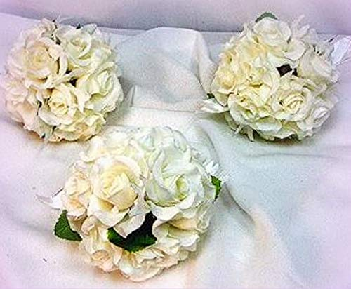 Inna-Wholesale Art Crafts New Rose Kissing Ball Cream Ivory Pew Bow Silk Decorating Flowers Girl Pomander - Perfect for Any Wedding, Special Occasion or Home Office D?cor