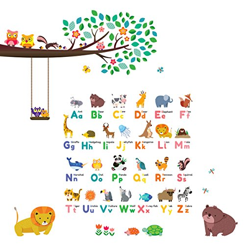 Decowall DW-1614P1410 Animal Alphabet ABC Large Branch Owls Kids Wall Stickers Wall Decals Peel and Stick Removable Wall Stickers for Kids Nursery Bedroom Living Room by Decowall
