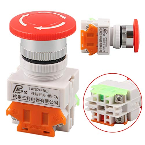 4 Button Switch - Red Sign Mushroom Emergency Stop Push Button Switch 4 Screw Terminal Double Pole Single Throw 600v - Permutation Two-Handed Change Replacement Shift Swap - 1PCs