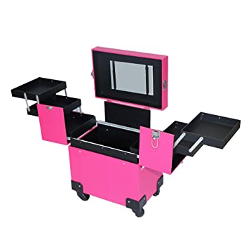 528d48efe614 Lovinland Train Case, Portable Aluminum Cosmetic Makeup Case Tattoo Box  with PVC Mirror Pink